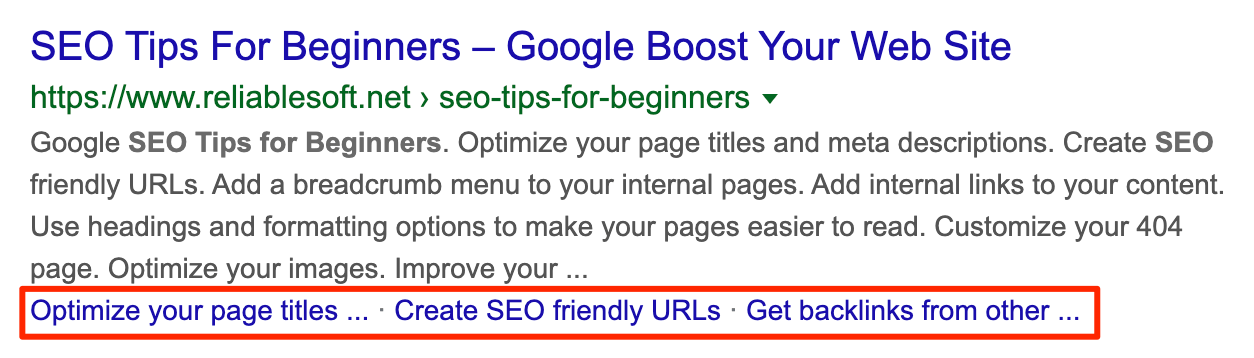 Posting sitelinks in Google Search results