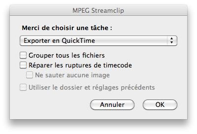 MpegStreamClip - Exporter en Quicktime
