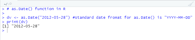 This image shows how the as.Date() function can be used to create a date value in R programming.