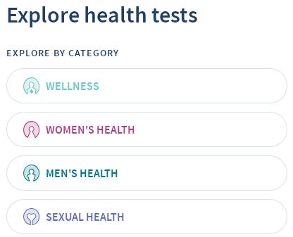 Captura de pantalla de la aplicación LetsGetChecked. Ofrecen una variedad de pruebas divididas en cuatro categorías principales (además de su nuevo servicio de pruebas de coronavirus).
