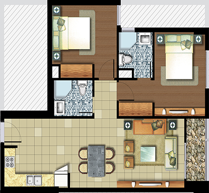 2 phòng ngủ 73 m²