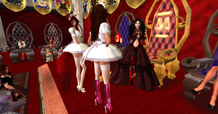 Queen Talin, Maids Jade and Mikki at AYA's Throne Rom