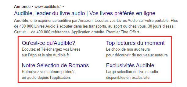Campagne Adwords | liens annexes
