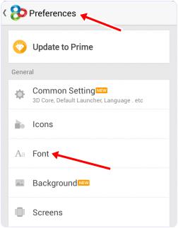 Go Launcher font settings tab