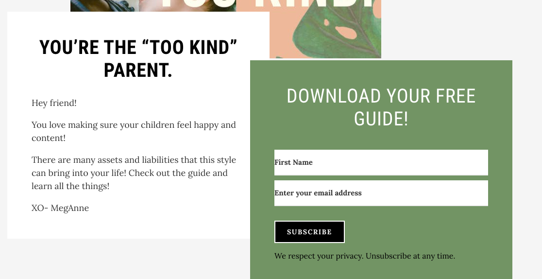 download a guide signup form