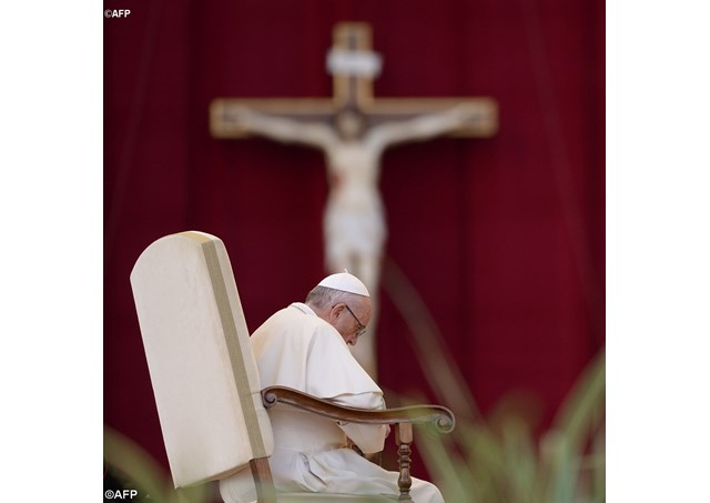 Pope Francis on Saturday evening presided at the Vigil of the Marian Jubilee taking place in St. Peter's Square. - AFP