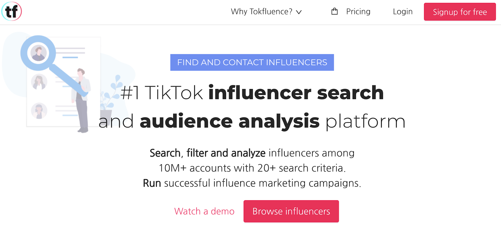 Tokfluence influence search and audience platform