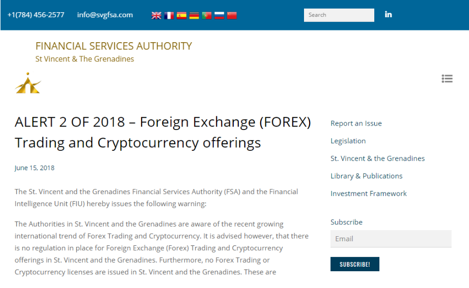 FSA doesn't associate with forex and cryptocurrency brokers