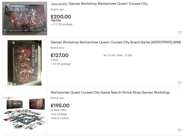 A screenshot of three listings for Cursed City on ebay. Two are 200 pounds, one is 127 pounds with two bids and four days remaining.