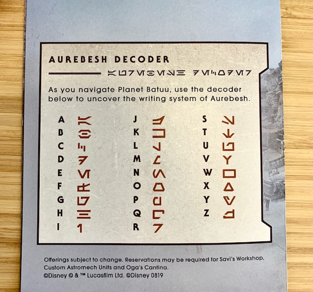 Star Wars Galaxy's Edge Aurebesh Decoder