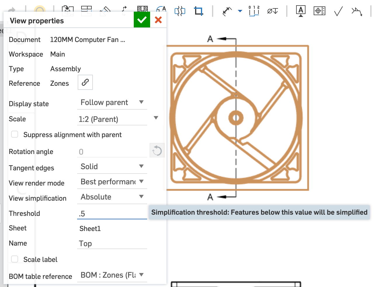 Onshape screenshot showing how to simplify drawing views.
