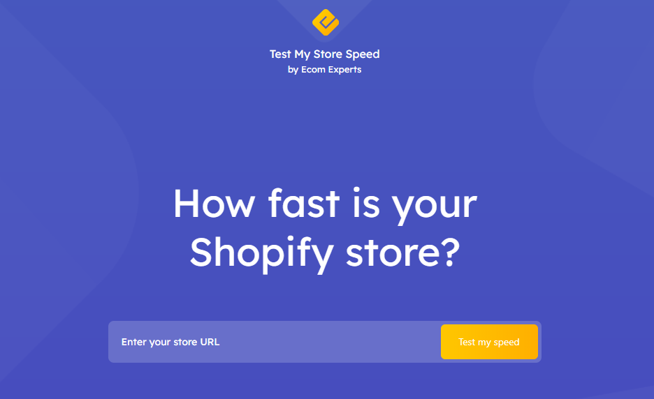 Test my Store Speed homepage
