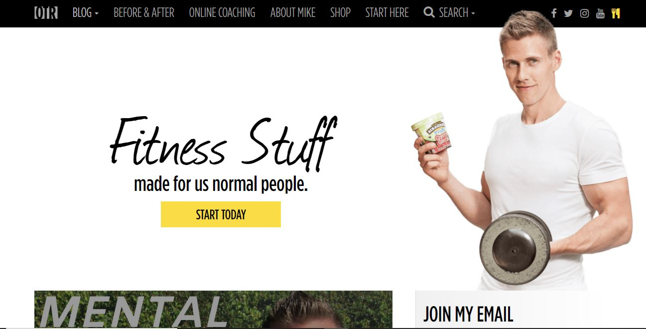 On the Regimen – a fitness website example.
