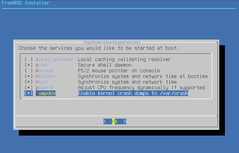 Install FreeBSD with desktop environment - System Configuration. Source: nudesystems.com