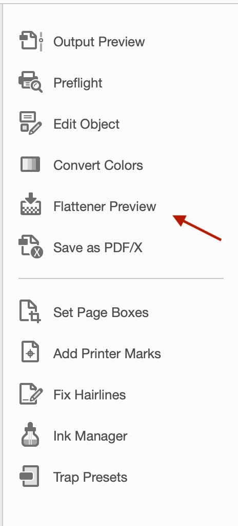 "Screenshot of the drop down menu of Adobe. Arrow pointing to ""Flatten Preview"""