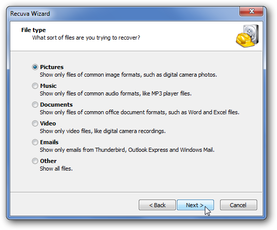 Recover deleted photos from Recuva computer