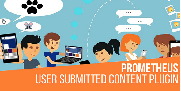 prometheus user submitted content wordpress plugin featuring animated people using technology to communicate