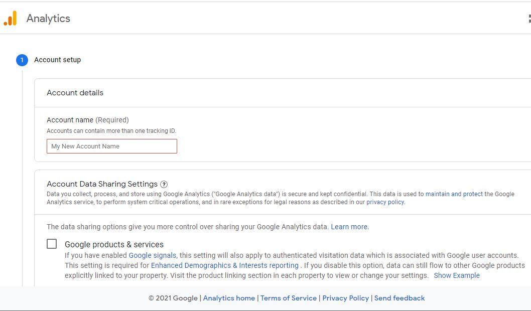 Account setup details on google