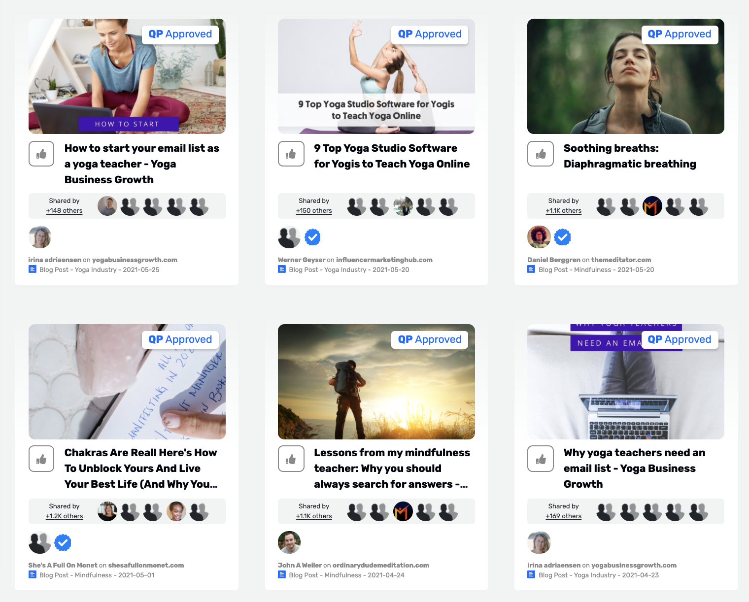 The dashboard of Quuu Discover. A variety of content, categorized into interest topics. A variety of yoga articles.