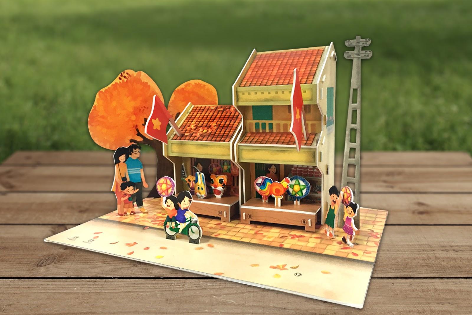 Quà tặng Trung thu - Bộ xếp hình 3D Trung Thu Việt chủ đề Sắm quà trung thu