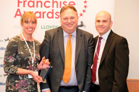 Home Instead Senior Care Best Franchise winner Ruth Brown (l), Richard Holden (Lloyds Bank Commercial) and Martin Jones (r)