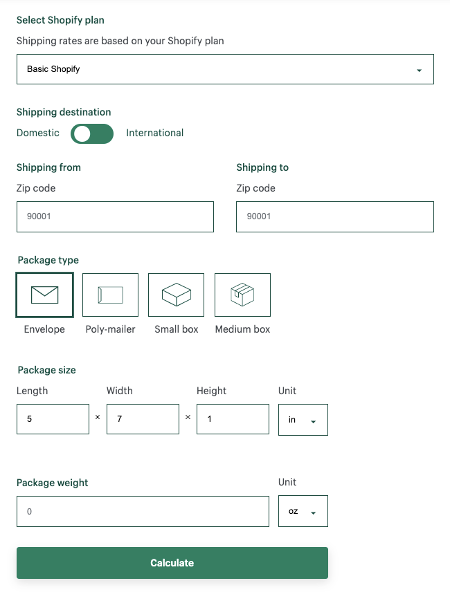 Shopify shipping calculator