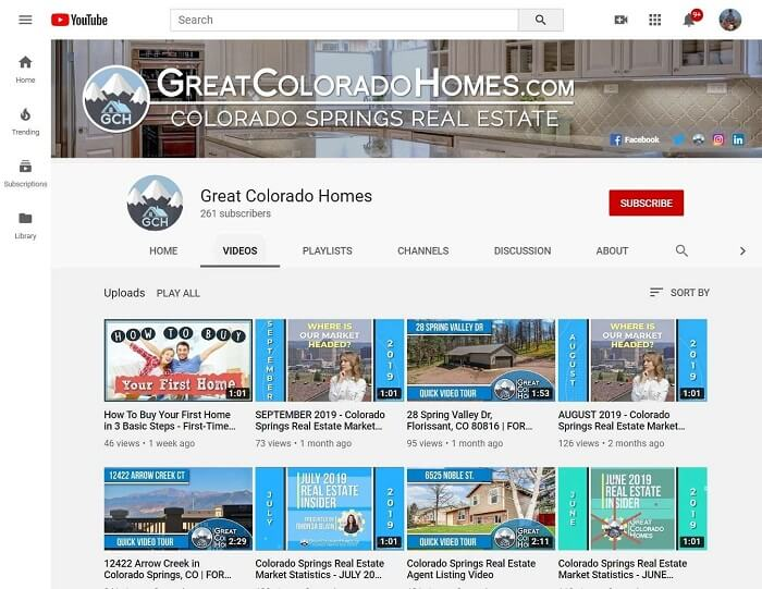 Real Estate Agent YouTube Channel Example