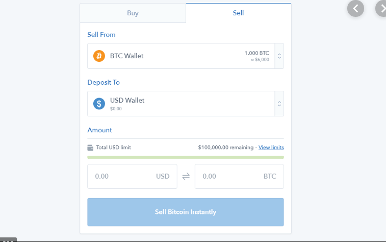 BTC to USD interface of a cryptocurrency exchange.
