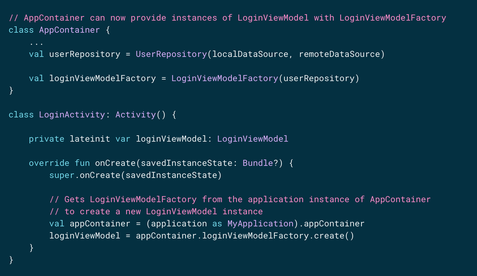 instances of LoginViewModel with LoginViewModelFactory