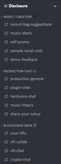 A screenshot of Disclosure's different channels within Discord to market their music effectively