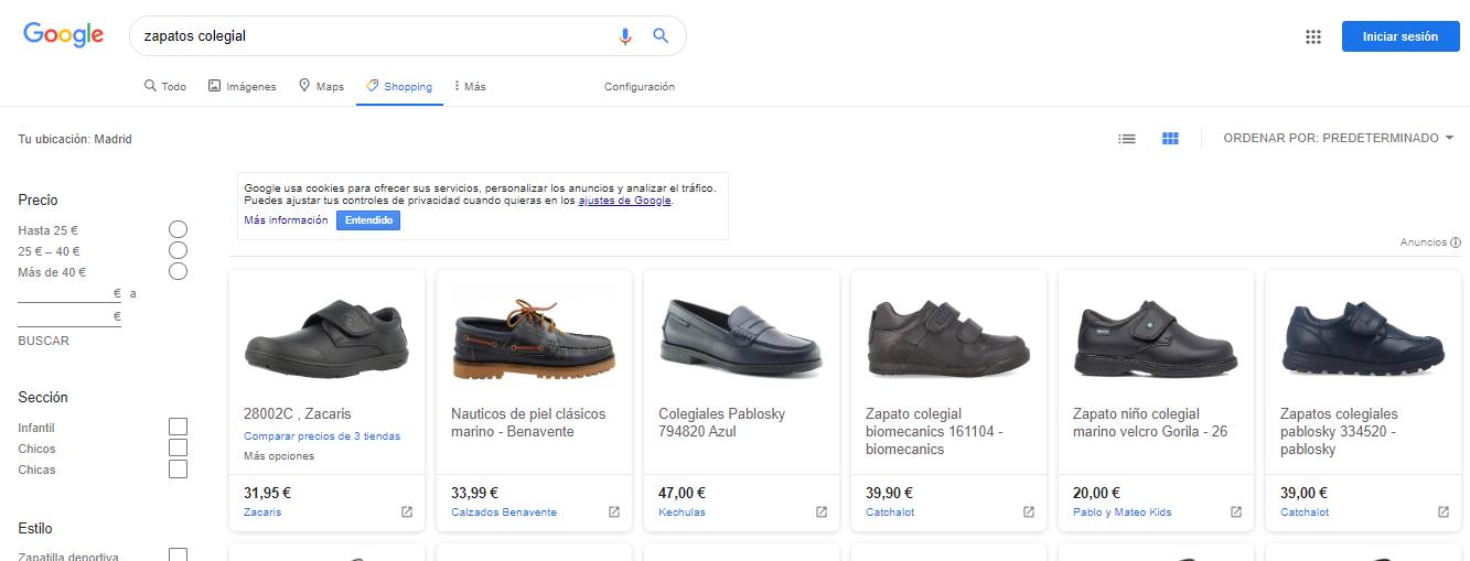anuncios de shopping en google