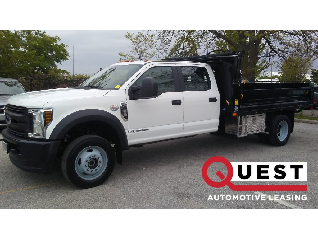 A white ford Super-Duty F-350 available for lease at Quest