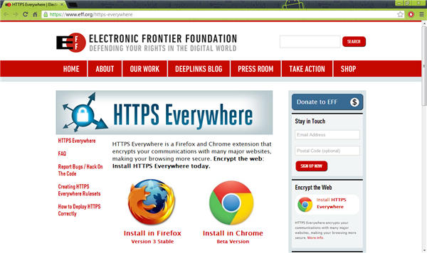 Electronic Frontier Foundation HTTPS Everywhere Install