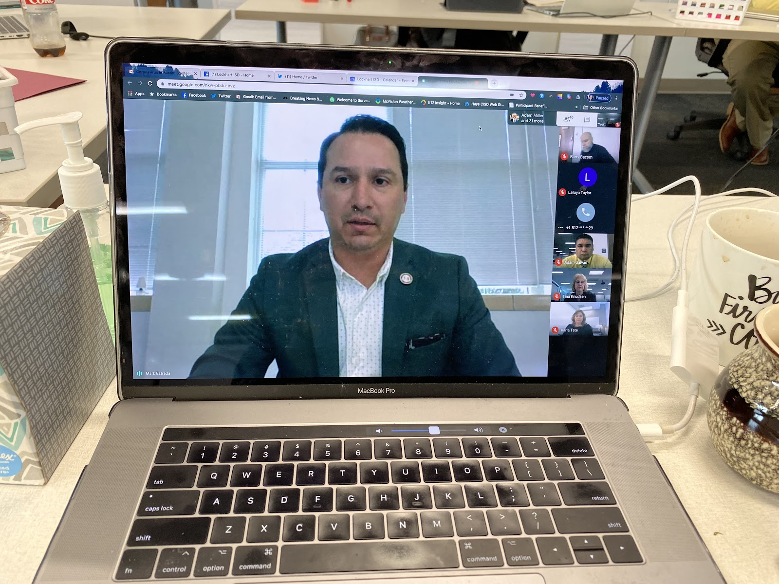 Superintendent Estrada hosts virtual meeting with district and campus administrators.