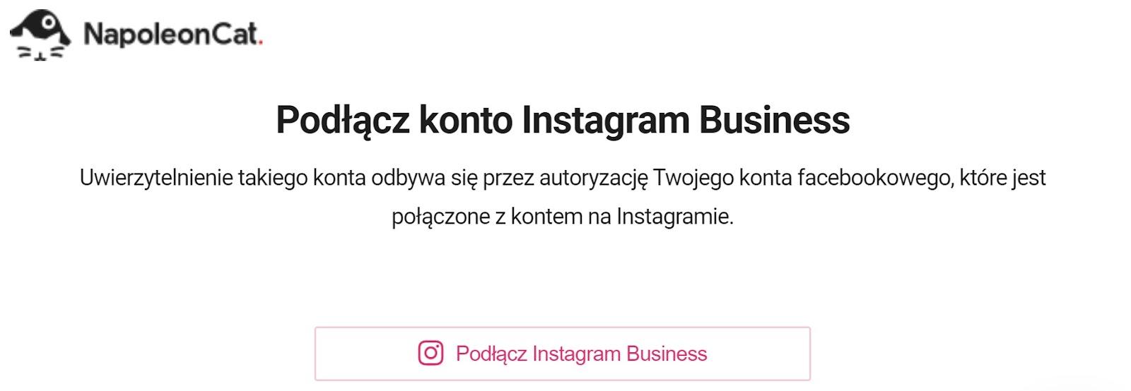 Podłącz konto Instagram Business w NapoleonCat