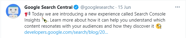 Google Launches Search Console Insights- Twitter