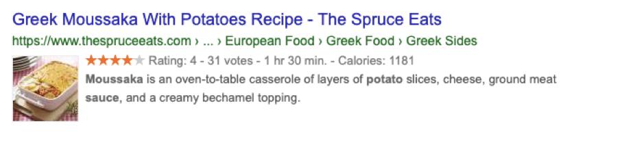 Schema markup - recipe example