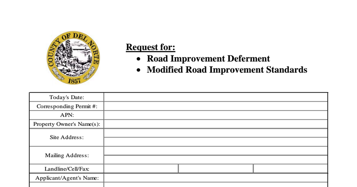 2017-07-31 Request for Road Deferment or Modified Standards