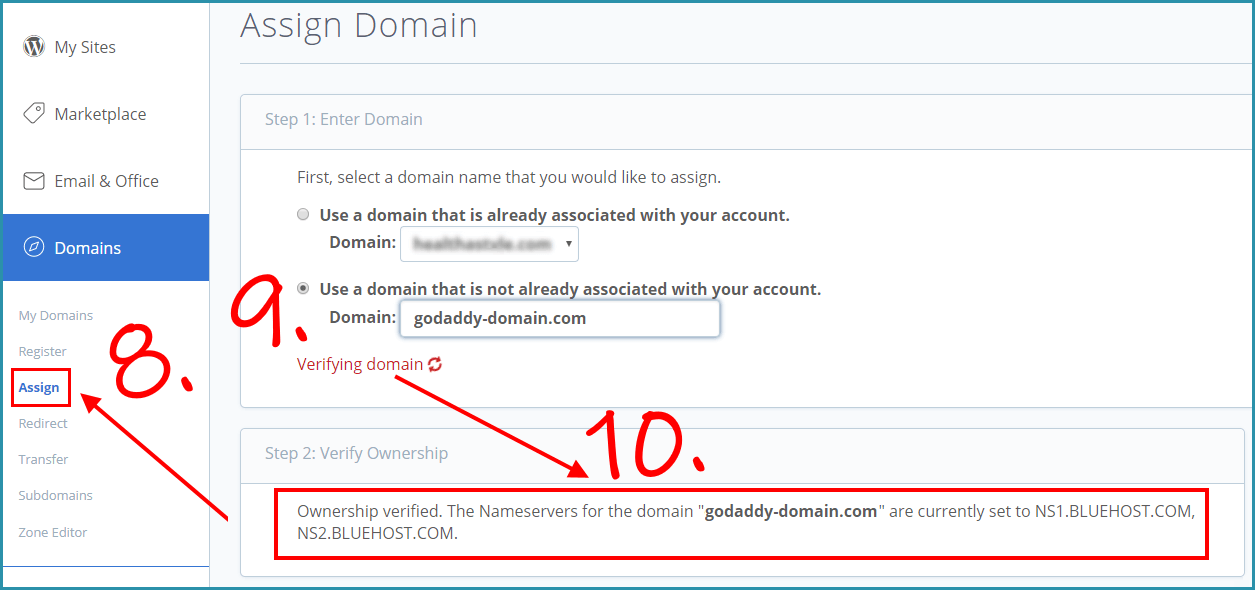Assign domain on bluehost account and checking ownership on your domain