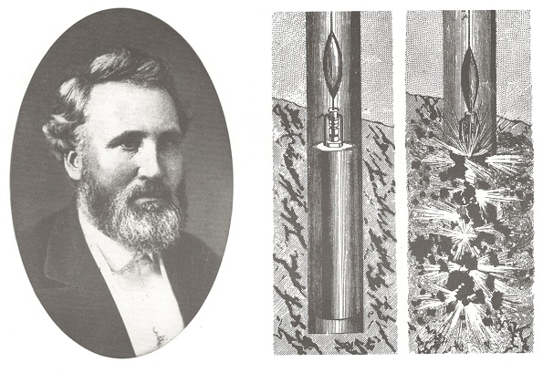 history of hydraulic fracking E.A.L. Roberts portrait and frac drawing