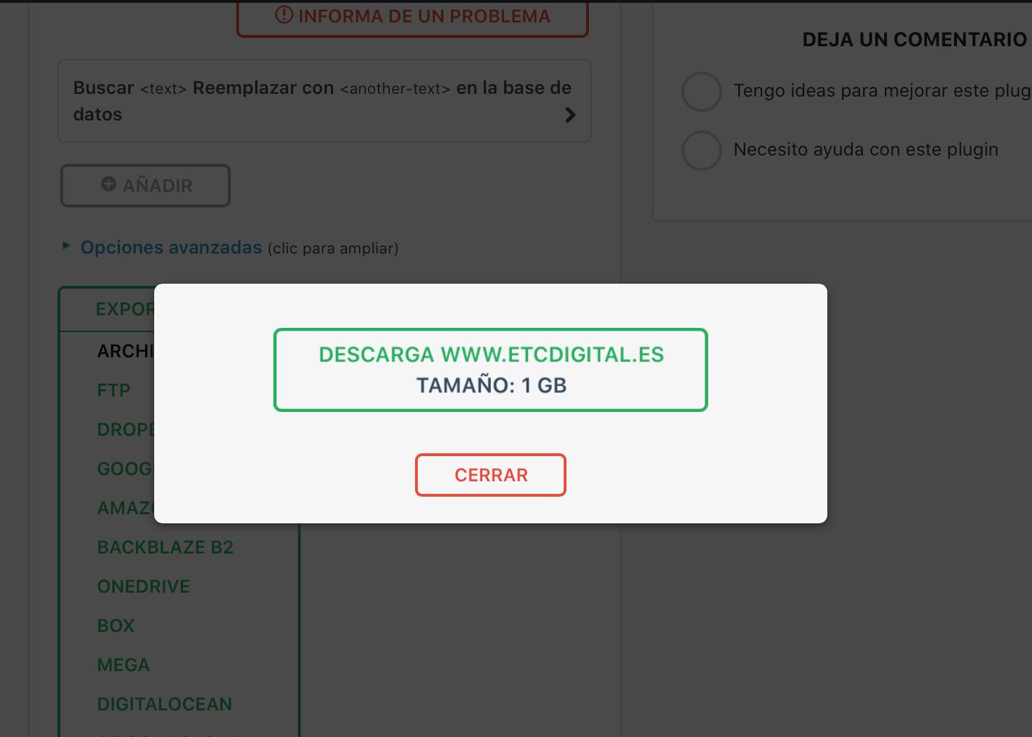 Descargar la copia de seguridad (opcional)