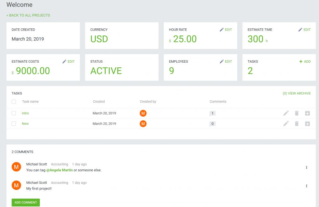 DeskTime's project feature screenshot