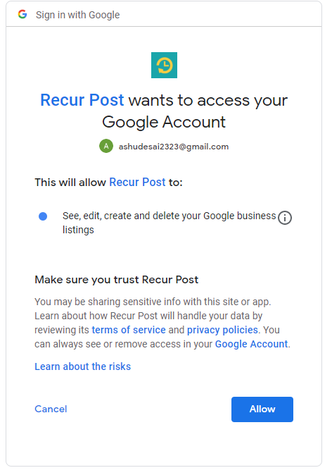 how to reconnect Google my business listing to RecurPost - social media scheduling tool
