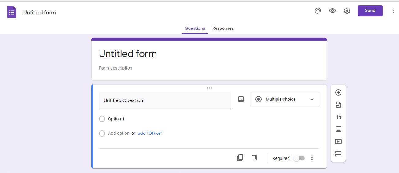 Tampilan editing google form