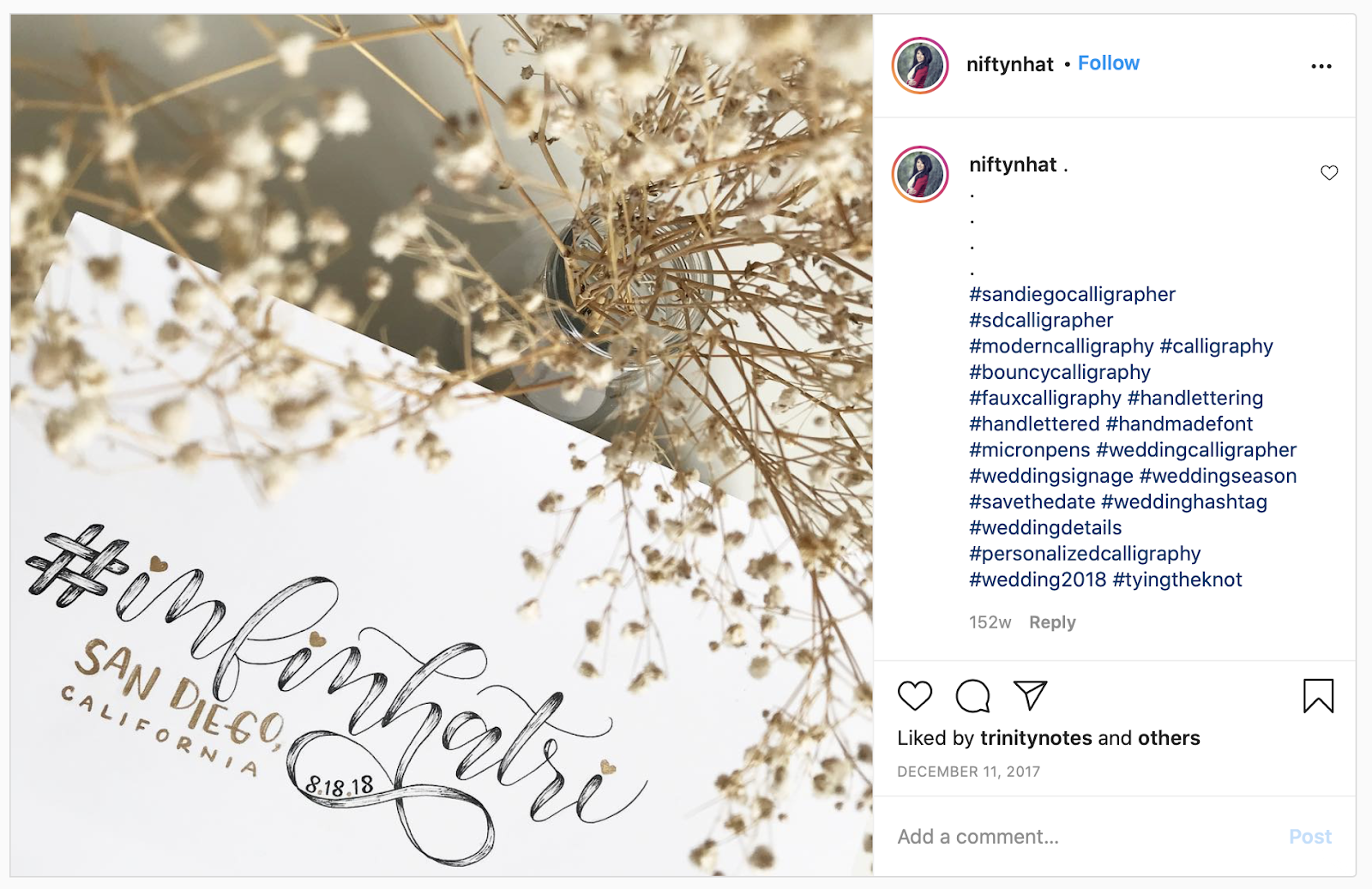 example of using the hashtag before the wedding