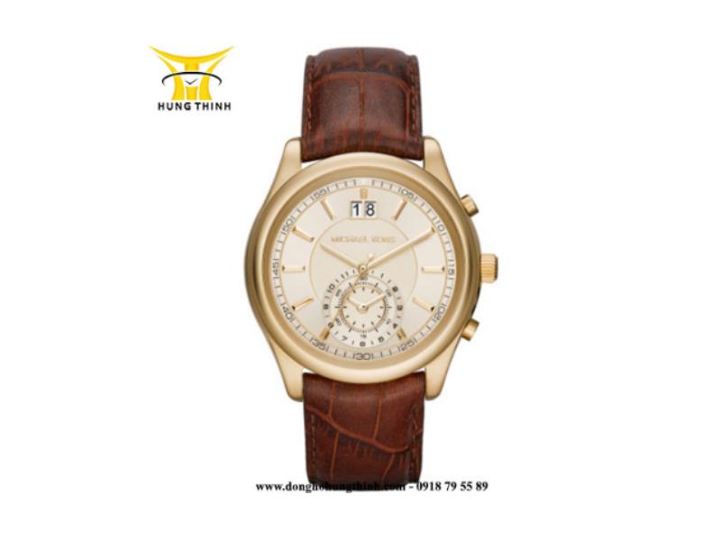 Mẫu đồng hồ Michael Kors dây da nam 4 kim vỏ vàng với thiết kế dây da dày dặn, hiện đang được giảm giá chỉ còn 7.838.000 vnd  (Mua ngay sản phẩm tại đây)