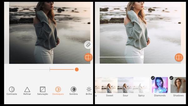 Tutorial de edição de uma foto de uma mulher na praia durante o frio usando as ferramentas do AirBrush