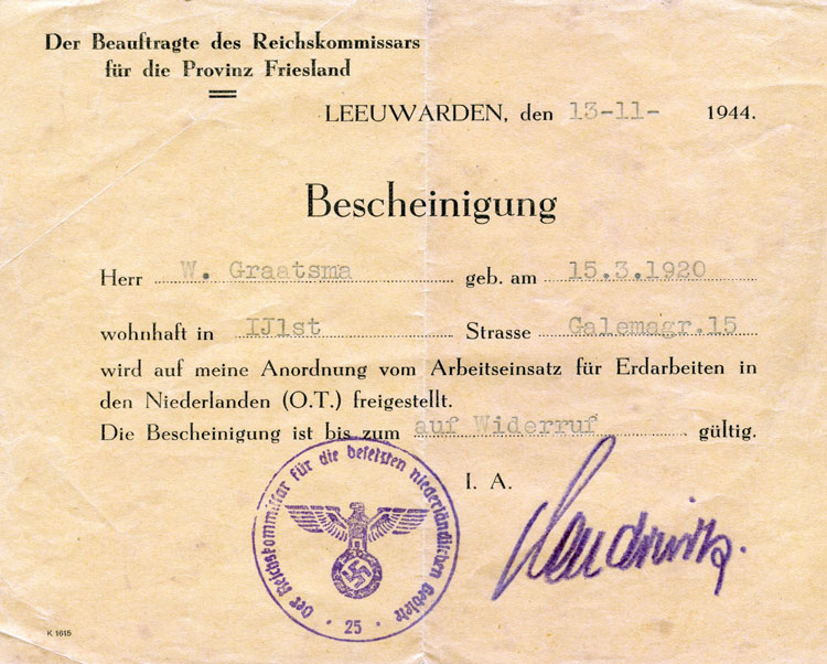 One of the false ID papers Ray carried during World War II