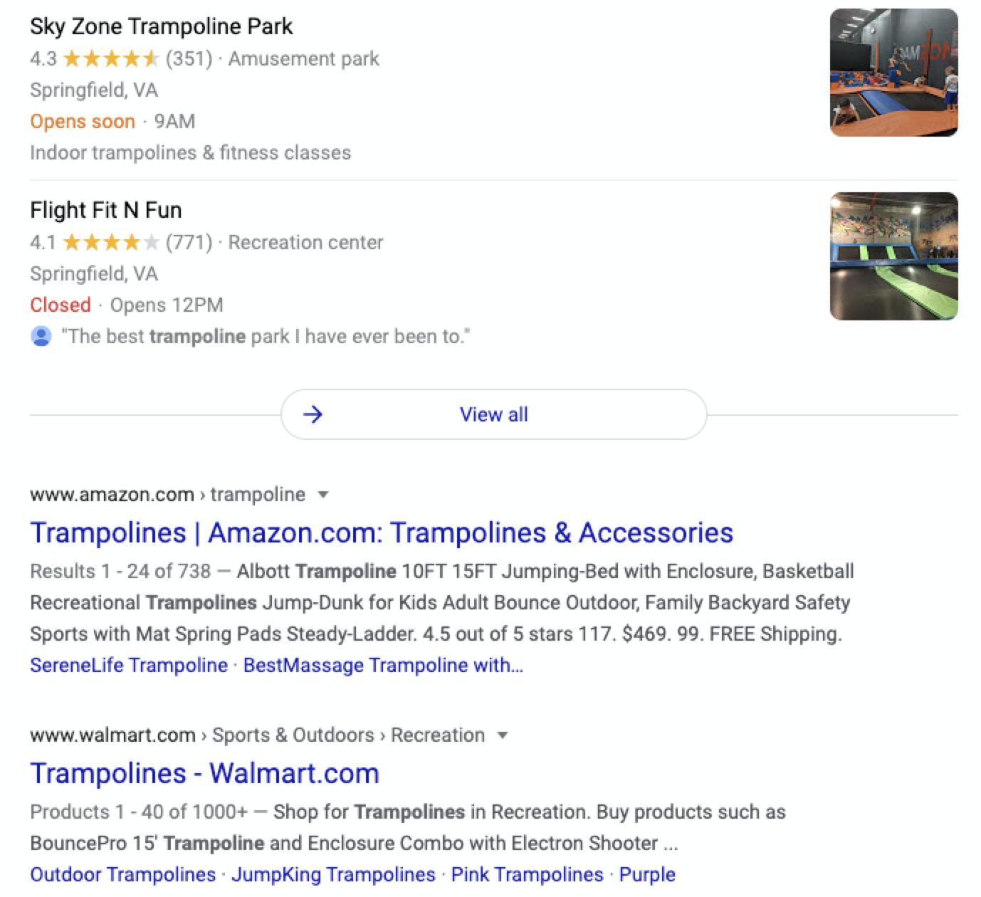 "SERP results for keyword ""trampoline"""