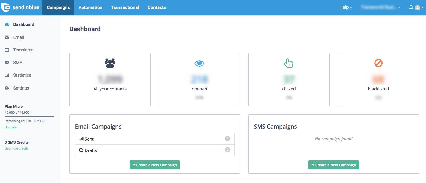 Sendinblue email marketing service dashboard